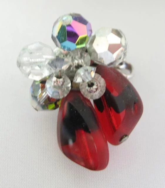 Vendome Red Glass Cluster Earrings Lee Caplan Vintage Collection Ruby Lane