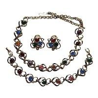 Rhinetsone Multi Coloured Necklace Earrings Bracelet Set