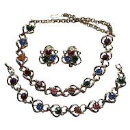 Rhinetsone Multi Coloured Necklace Earrings Bracelet Set