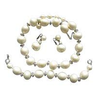 Fabulous Trifari Faux Pearl Rhinestone  Earrings  Necklace Bracelet Set