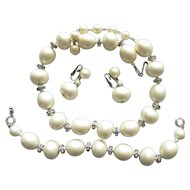 Fabulous Trifari Faux Pearl Rhinestone  Earrings  Necklace Bracelet Set
