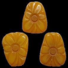 Large Bakelite Floral Carved Pin & Earrings