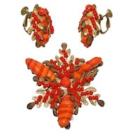 Miriam Haskell Coral Poured Glass Rhinestone Pin Earrings Set