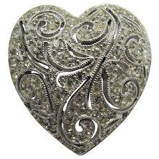 Boucher Sparkly Pave Rhinestone Heart Pin