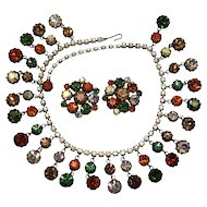 Vibrant Vendome Autumn Coloured Bib Necklace Earrings Set