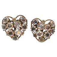 Pair Vogue Sterling Hearts Pins Brooches
