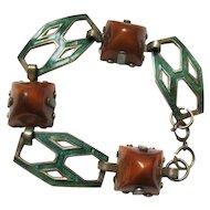 Carnelian Green Guilloche Enamel Deco Bracelet