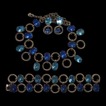Napier Shades of Blue Necklace Bracelet Earrings Set Bk