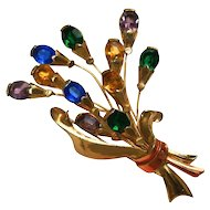 Large Spray Colourful Rhinestone Floral Pin