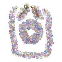 Pastel TearDrop Lucite Bracelet Necklace Earrings Set