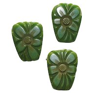 Green Bakelite Deeply Carved Floral Pin Earrings Set