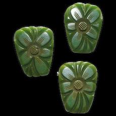 Green Bakelite Deeply Carved Floral Pin Earrings Set