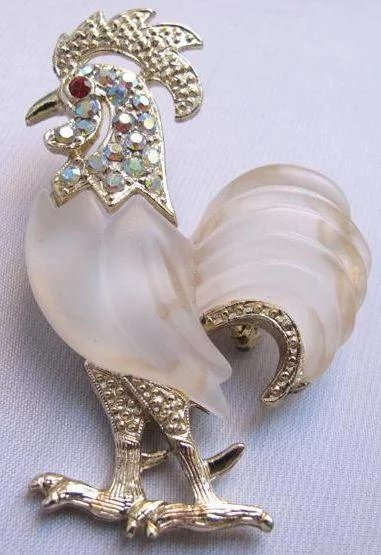 Rooster Frosted Belly Aurora Borealis Jewelled Figural Pin Lee Caplan Vintage Collection