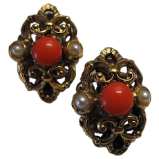 Faux Pearl Coral Filigree Austria Earrings
