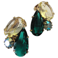 Large Jewelled Green Yellow Rhinestone Earrings