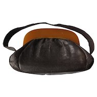 Butterscotch Lucite Crown Purse Brown Leather