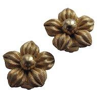 Napier Flower Earrings Gold Tone Chunky