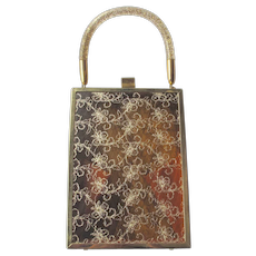 Miami Handbag Transparent Gold Thread Confetti Lucite Handle