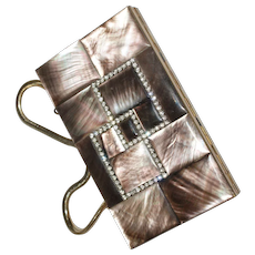 CarryAll  Mother of Pearl Rhinestone Compact Minaudière 1950s