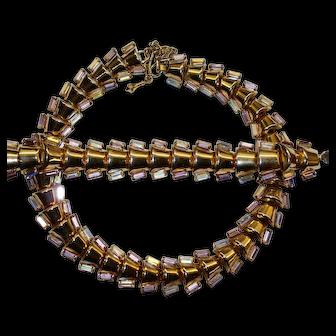 Chunky Gold Toned Aurora Borealis Rhinestone Necklace Bracelet Set