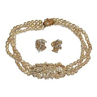 Original by Robert Faux Pearl Rhinestone Filigree Necklace Earrings Set