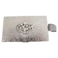 Evans Starburst Rhinestone Compact Purse Minaudière Carry All Bk Pc Bridal