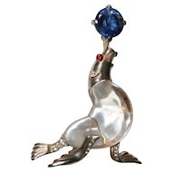 Trifari Sterling Lucite Jelly Belly Seal Sea Lion Pin Brooch