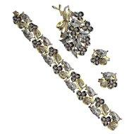 Mazer Bros Floral Enamel Rhinestone Bracelet Pin Earrings Set
