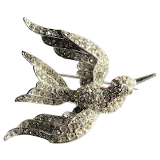 Rhinestone Bird in Flight Figural Pin Brooch Sparkly
