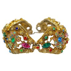 Ornate Coro Heavily Jewelled Floral Bracelet Pot Metal 30s