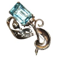 Reja Aqua Rhinestone Gold Washed Sterling Pin