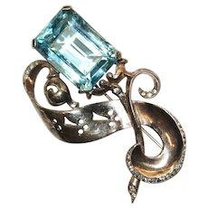 Reja Aqua Rhinestone Gold Washed Sterling Pin