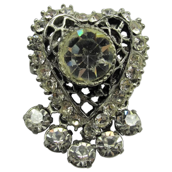 Rhinestone Drop Heart Pin Brooch