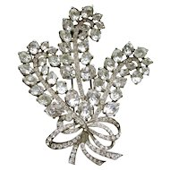 Eisenberg Original Tri Feather Rhinestone Pin Brooch 4in Bridal