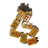 Bakelite Mahjong Tile Necklace Vintage