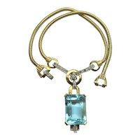 Deco Aqua Mazer Rhinestone Necklace Book Piece