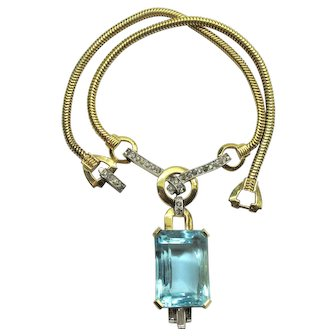 Deco Aqua Mazer Rhinestone Necklace Book Piece