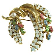 Faux Opal Jewelled Spray Pin Signed Art