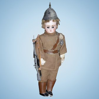 French Bisque Soldier Doll by Laternier - all original - closed mouth