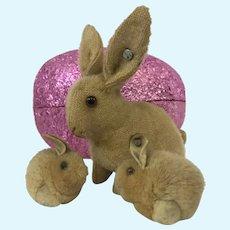 Antique Steiff Hase bunny rabbit and woolie babies prewar