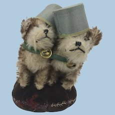 Antique German Molly type dogs on pincushion 1930