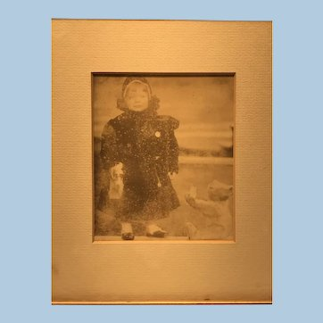 Antique Photo with child and Steiff Rod bear