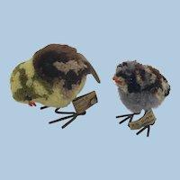 Prewar Steiff Woolie Birds Sparrow and Bunting