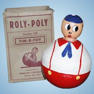 "Rare and Large 8"" Roly Poly Toy with Original Box - Tim B Toys"