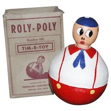 """Rare and Large 8"""" Roly Poly Toy with Original Box - Tim B Toys"""