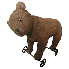 Antique Steiff Teddy Bear on Wheels 1912