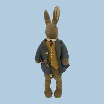 English plush dressed Rabbit 1930 possibly Farnell
