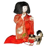 Vintage Japanese Chinbiki Doll with Japanese Chin Dog