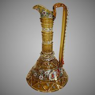Moser Art Glass Enameled Ewer circa 1885 with Rigaree Handles