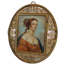 Miniature Porcelain Portrait of Italian Lady